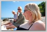 Lisbeth, Hanne, and Kaspar at the beach