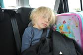 Ellen naps in the rental car