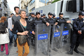 The Turkish police, ready to quell any rowdiness.