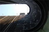 Entering the Carrapatelo lock -- the highest of five locks on the Douro river