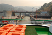 Leaving the Carrapatelo lock, the ship having been lifted 35 meters (114 feet)