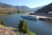Our ship, moored on the Spanish bank, on the stretch of river that divides Spain and Portugal