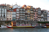 A Rabelo boat moored in Porto