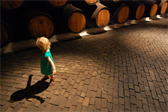 Ellen, in the Sandeman Port wine cellar in Porto