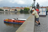 Dad, on the Charles Bridge