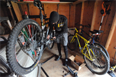 Ben gets the bikes ready for a ride