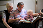 Storytime with grandpa and grandma Hansen